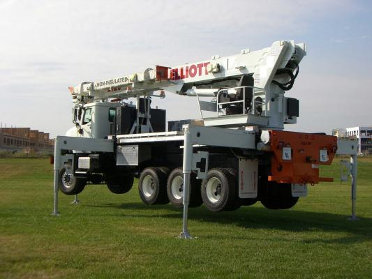 Elliott Equipment E120 truck-mounted aerial work platform extends to 120 feet of working height