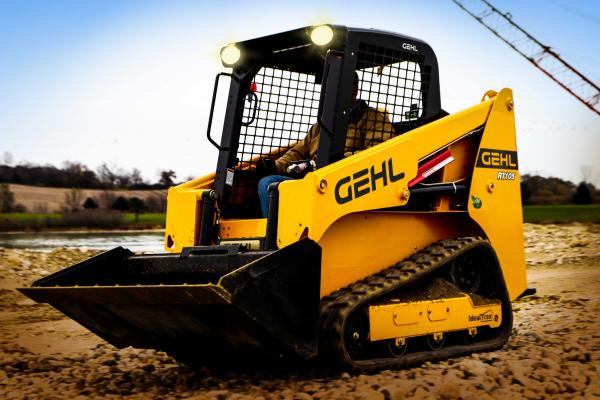 Gehl The RT105 compact track loader has rated operating capacity of 1,050 pounds