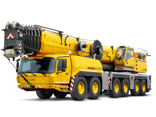 The 350-ton-capacity Grove GMK6300L-1 features enhanced load charts