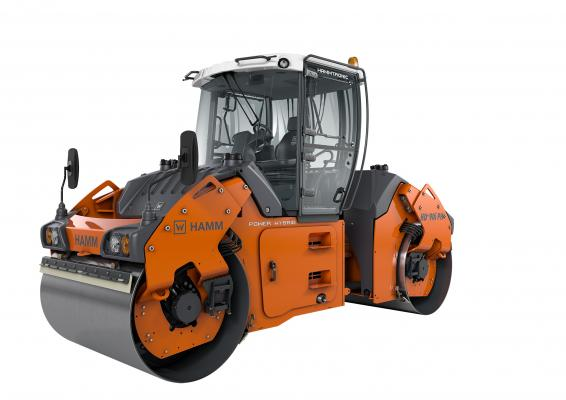 Hamm HD+ 90i PH double drum compactor has a hybrid power train system