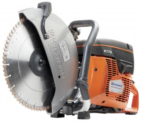 The K 770 power cutter features a 5-horsepower 74cc engine, a 5-inch cutting depth, and may be used with a choice of blades with diameters from 12 to 14 inches.