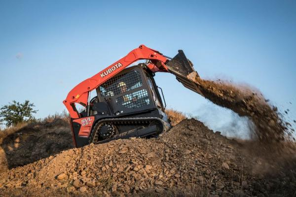 Kubota SVL65-2 compact track loader has an 35% ROC of 2,100 pounds.