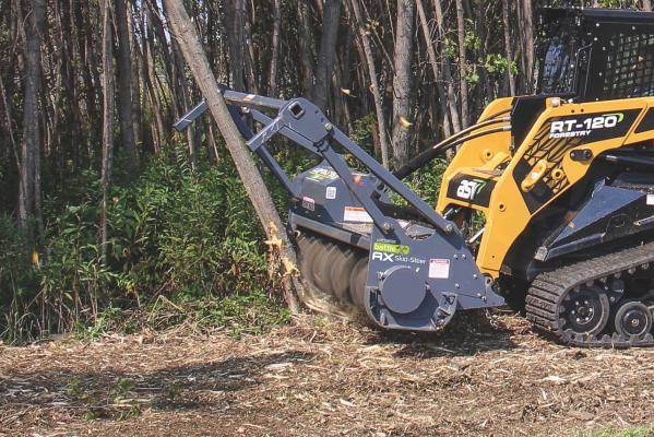 The Battle Ax horizontal drum mulcher is designed specifically for skid steers, and features a new rotor, tooth design, and two-stage cutting chamber.