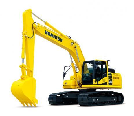 Komatsu PC240LC-11 crawler excavator has an operating weight range between 54,490 and 55,129 pounds.