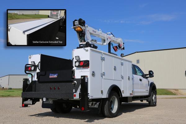 TMAX 30K Aluminum service body combines the crane-carrying Stellar TorqIsolator torsion box with an aluminum service body.