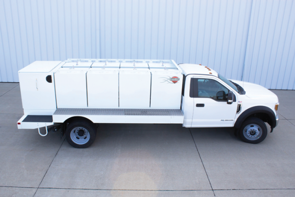 Thunder Creek multitank truck body allow users to haul 920 gallons of diesel