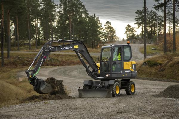 Volvo EW60E is a compact wheel-mounted excavator