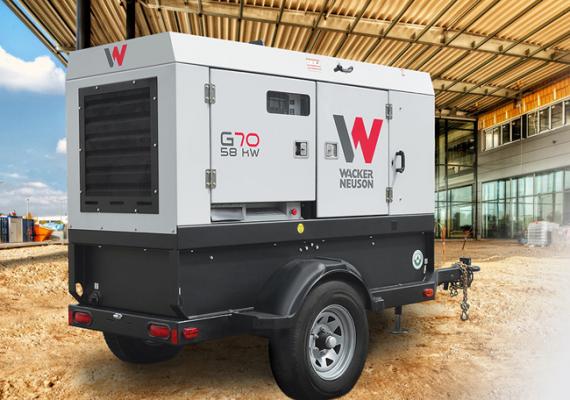 Wacker Neuson G70 generator provides single and three-phase power.