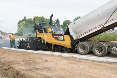 Machine control has become more common on large asphalt pavers.