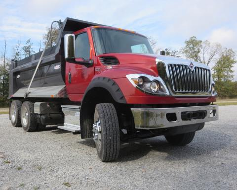 The International HV retains the tall WorkStar hood and chrome grille