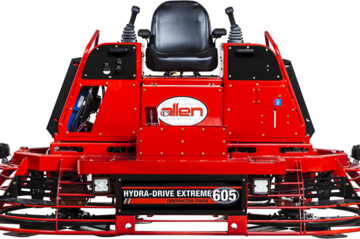 Allen Engineering HDX605 trowel is powered by a 57-horsepower Kubota gasoline engine
