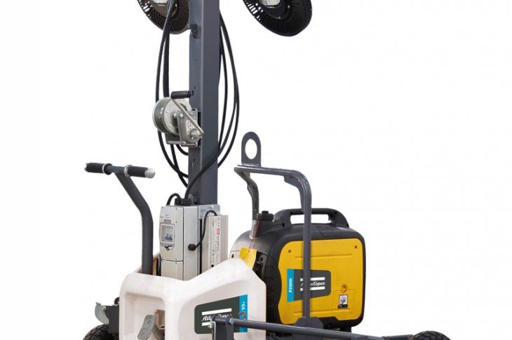 Atlas Copco HiLight V3+ light tower can be powered directly from an auxiliary power source, a portable generator, or the grid.