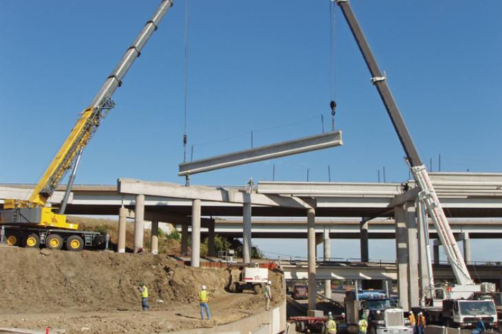 Structurally deficient bridge being repaired.