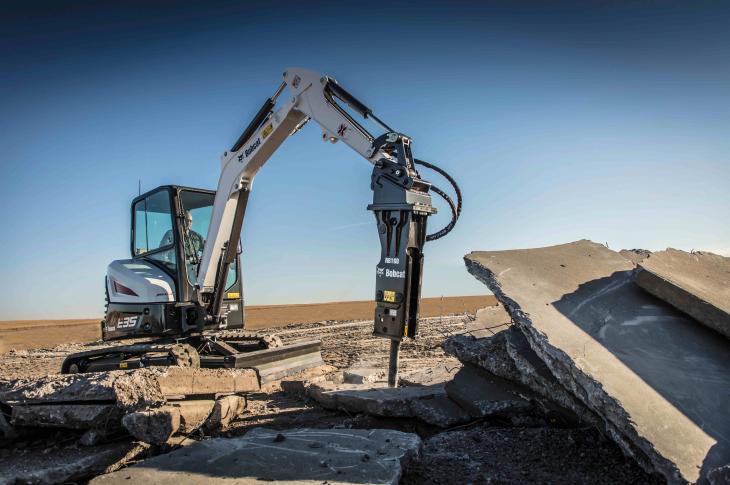 Six nitrogen breaker attachments cover all of the company's compact excavators, CTLs, skid steer loaders, and mini track loaders.