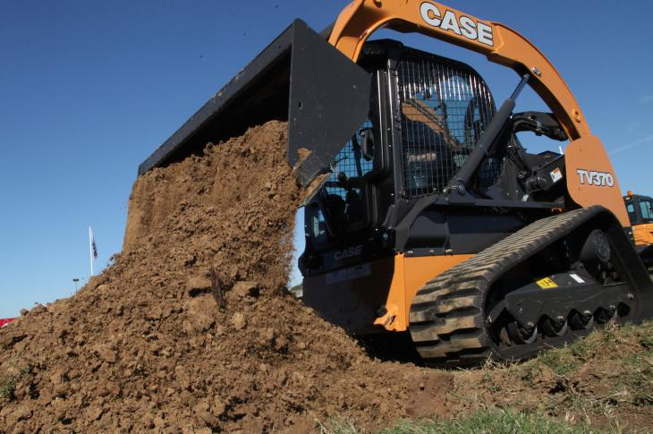 Case TV370 compact track loader is a vertical-lift unit with a 3,700-pound rated operating capacity.