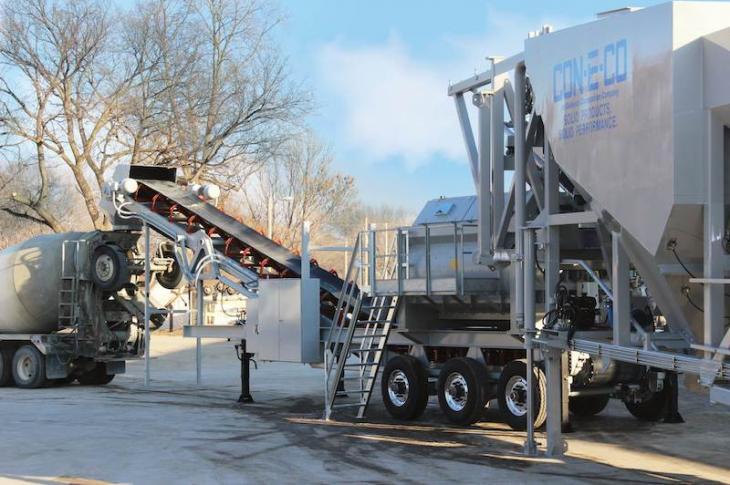 Con-E-Co Mobile Twin Shaft Concrete Batch Plant