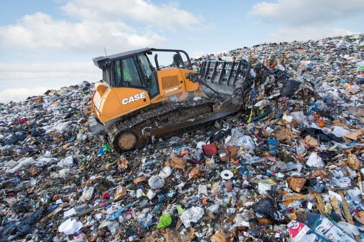 Case 214-horsepower 2050M dozer has been configured for landfill applications