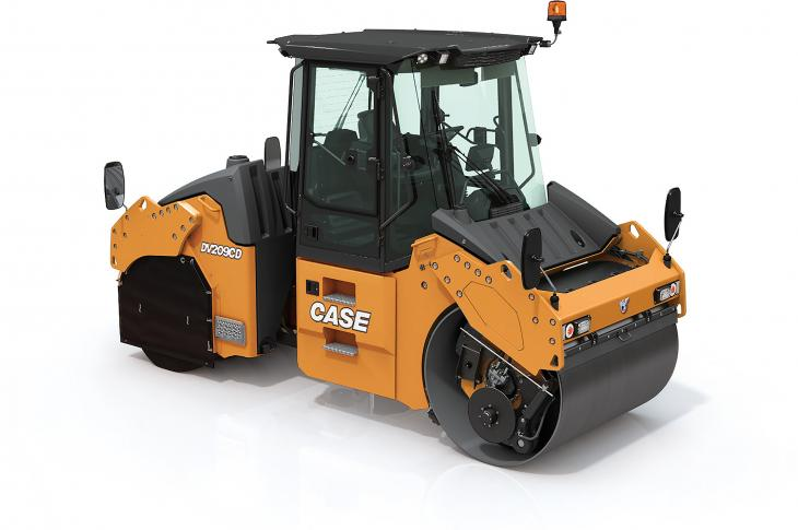 Case DV209CD and DV210CD rollers combine the compacting forces of a front vibratory drum and rear pneumatic tires.