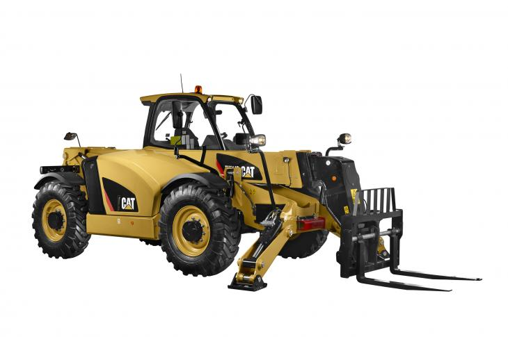 Cat TH514D telehandler has a rated load capacity of 11,021 pounds