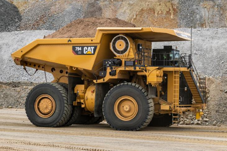 Cat 794 AC mining truck is available with Tier 4 engine.