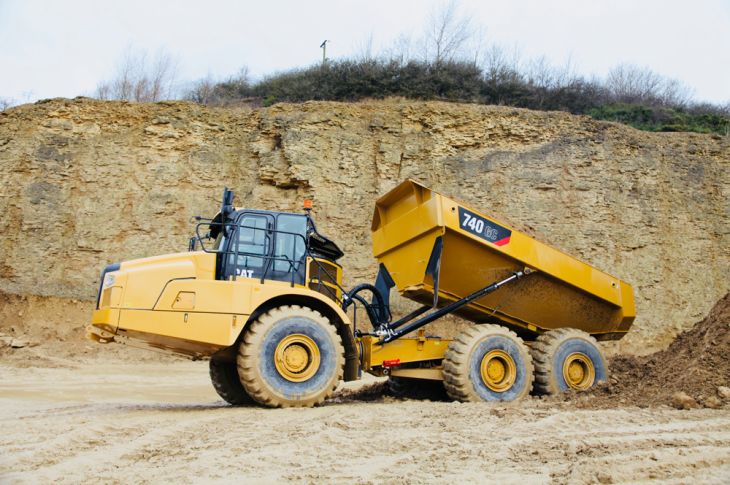 Cat 740 GC articulated dump truck has a 452-horsepower C15 ACERT engine