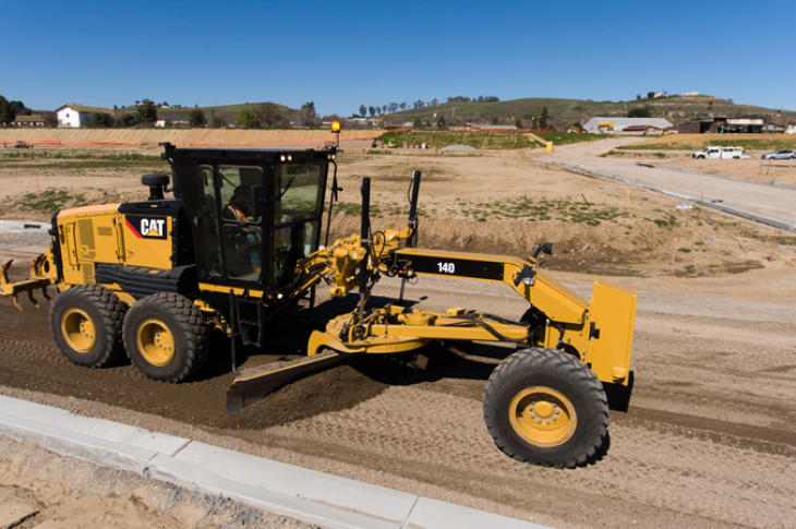 The 250-horsepower Cat 140 motor grader has an operating weight of 42,325 pounds