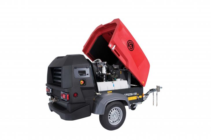 Chicago Pneumatic CPS 250 portable air compressor is a single-stage, oil-injected, rotary screw unit