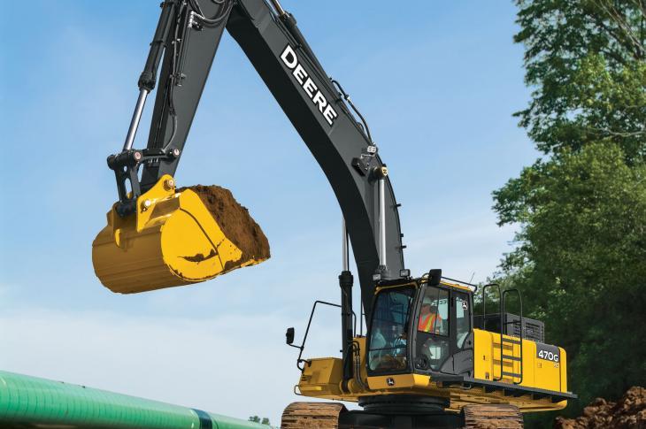 John Deere 470G LC crawler excavators now feature grade guidance