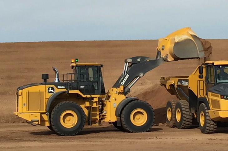 John Deere 844L aggregate handler has a 429 horsepower engine.