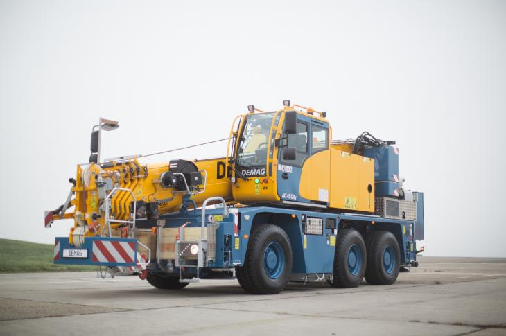 Demag AC 45 City crane has an operating weight of 74,800 pounds.