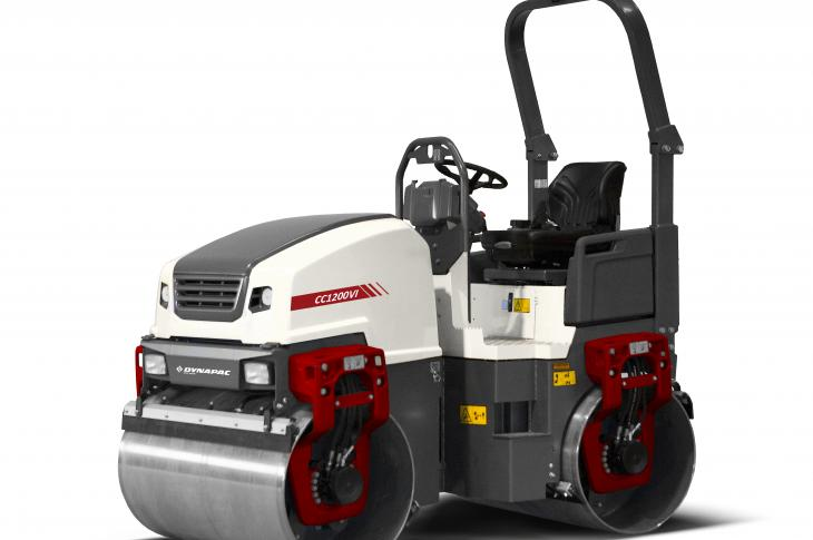 Dynapac CC1100/CC1200 generation VI tandem drum asphalt roller features a cross-mounted engine