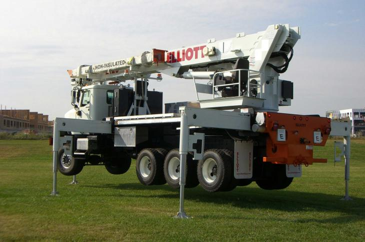 Elliott Equipment E120 truck-mounted aerial work platform extends to 120 feet of working height