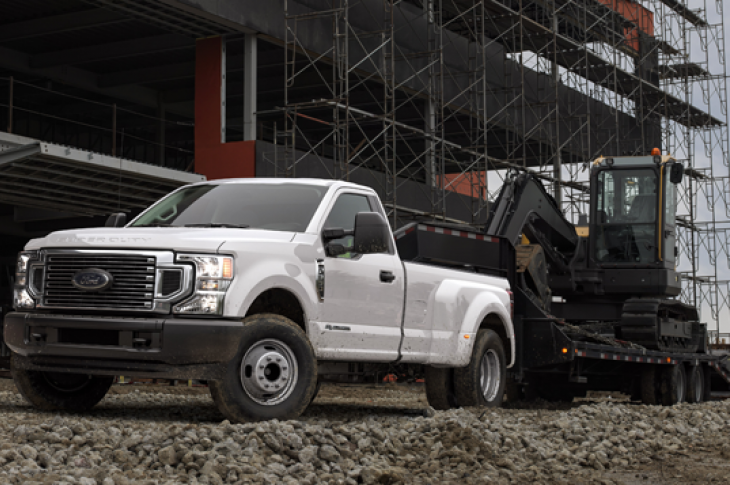 Ford 2020 F Series Super Duty pickups have an improved front bumper and air dam to optimize cooling.