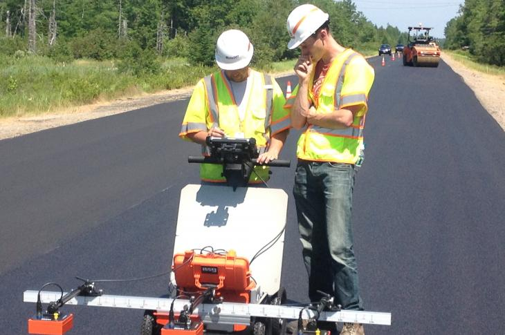 The PaveScan RDM asphalt-density assessment tool from Geophysical Survey Systems (GSSI), a manufacturer of ground-penetrating radar equipment, is designed to provide real-time, non-destructive measurements to determine asphalt integrity during application.