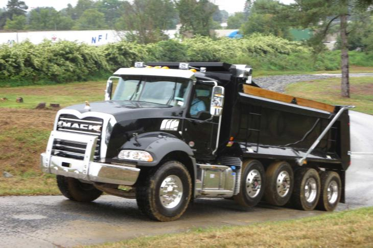 Lift axles on Mack Granite trucks come standard with shock absorbers