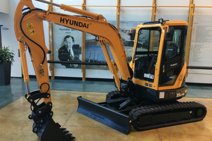 Hyundai R35Z-9A excavator is a 3.5-ton unit with standard bucket capacity of 0.14 cubic yard.