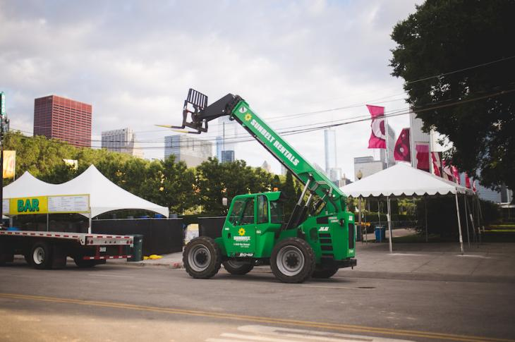 Sunbelt forklift on the Lollapalooza site.