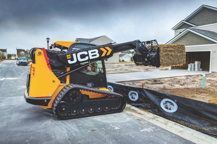 JCB compact track loader working on site.