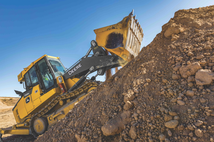 John Deere 755K crawler loader has a 194 horsepower engine