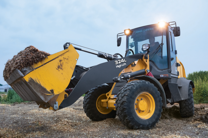John Deere 324L compact wheel loader has an operating weight of 14,110 pounds