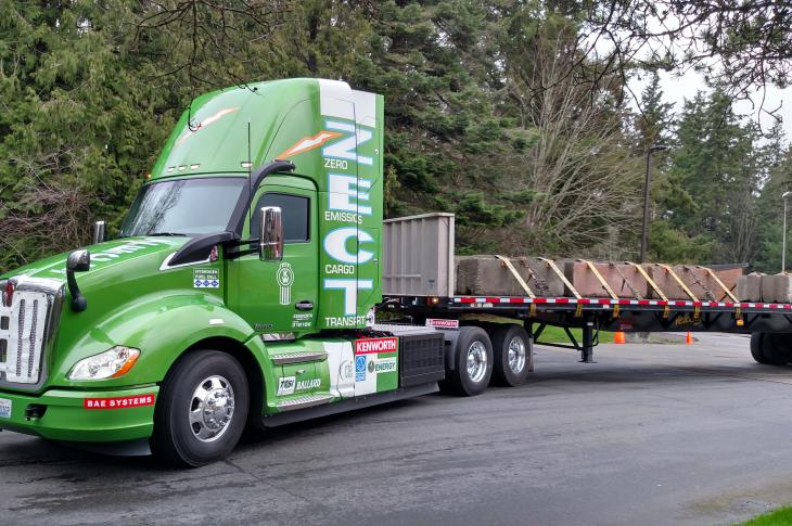Highly modified Kenworth T680 daycab tractor will pull containers out of Southern California ports.