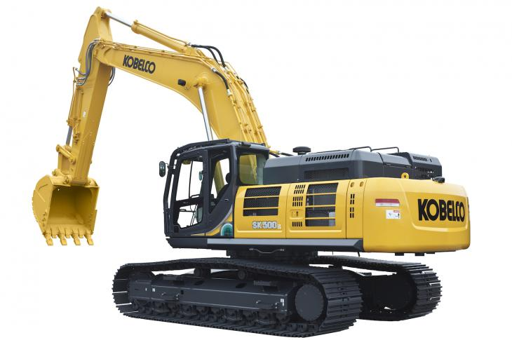 The SK500LC-10 excavator has an operating weight of 114,000 pounds