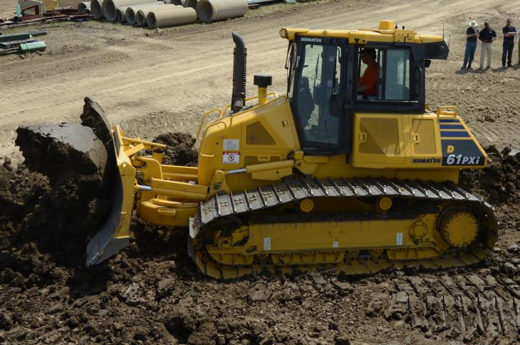Construction Equipment had the opportunity to observe the IMC system on the Komatsu D61PXi-23 dozer