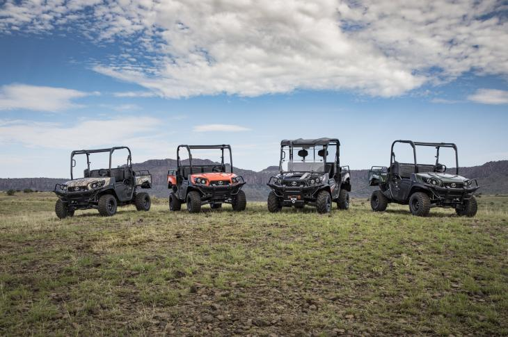 Kubota RTV XG850 Sidekick utility vehicle uses a 48 horsepower, water cooled, gasoline engine and is capable of speeds to 40 mph.
