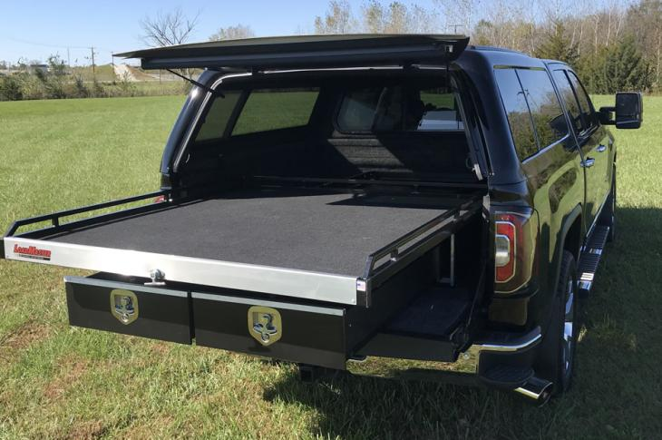 LTA LoadMaster series of in-bed sliding tray cargo management systems includes the Composite (CP), SD (Standard Duty), and HD (Heavy Duty).