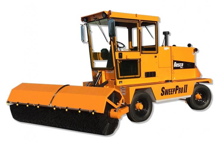 The SweepPro II is a front-mount broom with a fully enclosed cab featuring digital displays and ergonomic controls.
