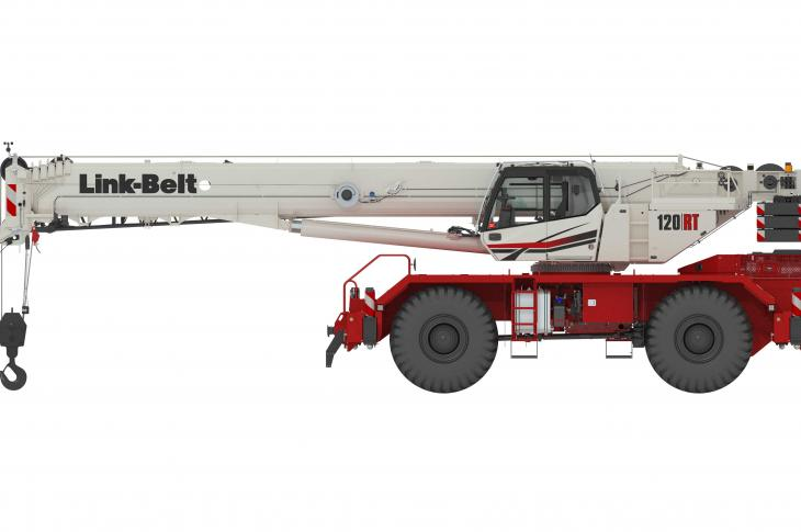 Link-Belt Cranes 120RT rough-terrain crane is a 120-ton unit with a six-section boom