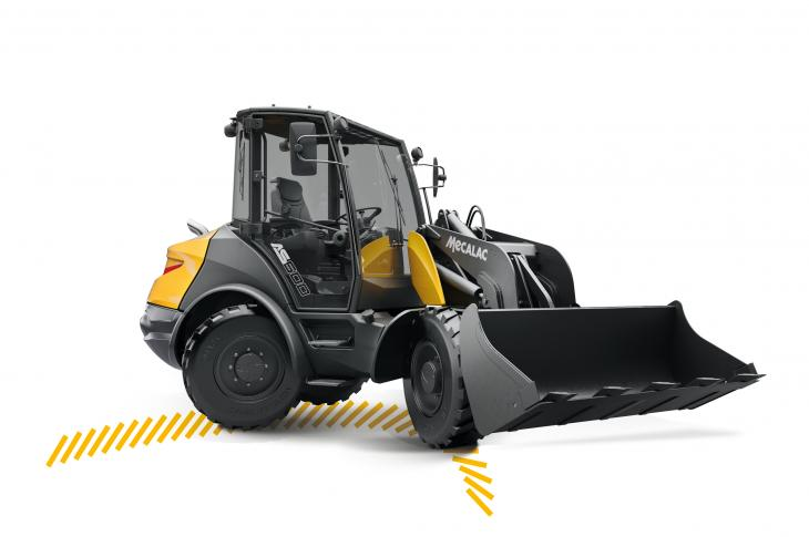 The AS600 Swing Loader combines four-wheel steering and a 180-degree swivel arm to perform a complete rotation on a footprint that is 20 percent smaller than that of a conventional loader, the company says.