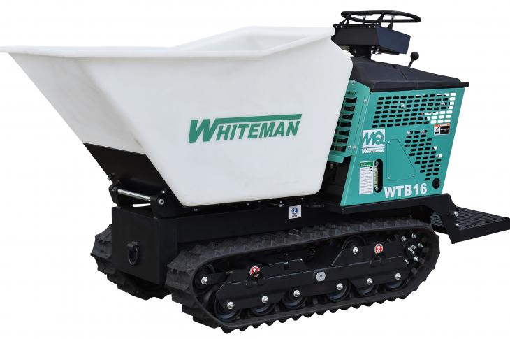 The MQ Whiteman WTB-16 track-drive power buggy is designed with an aggressive track pattern, says the manufacturer, enabling the buggy to travel efficiently through soft soils and mud.