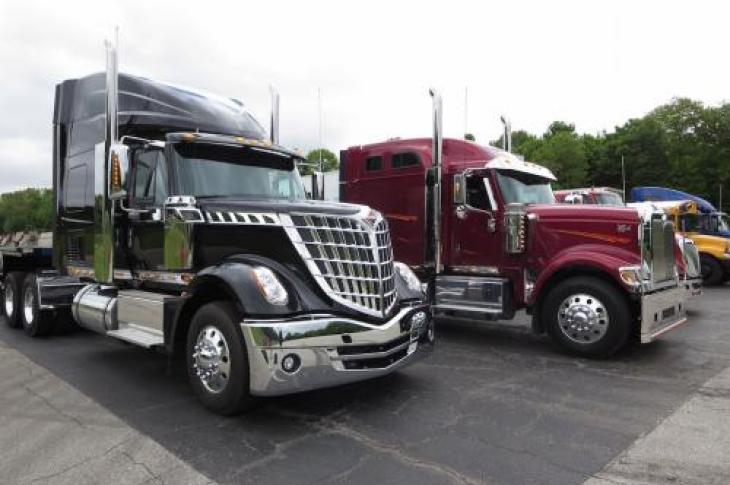 Navistar trucks ready to drive on the road.
